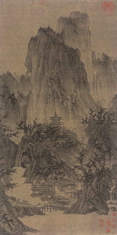 A Solitary Temple Amid Clearing Peaks