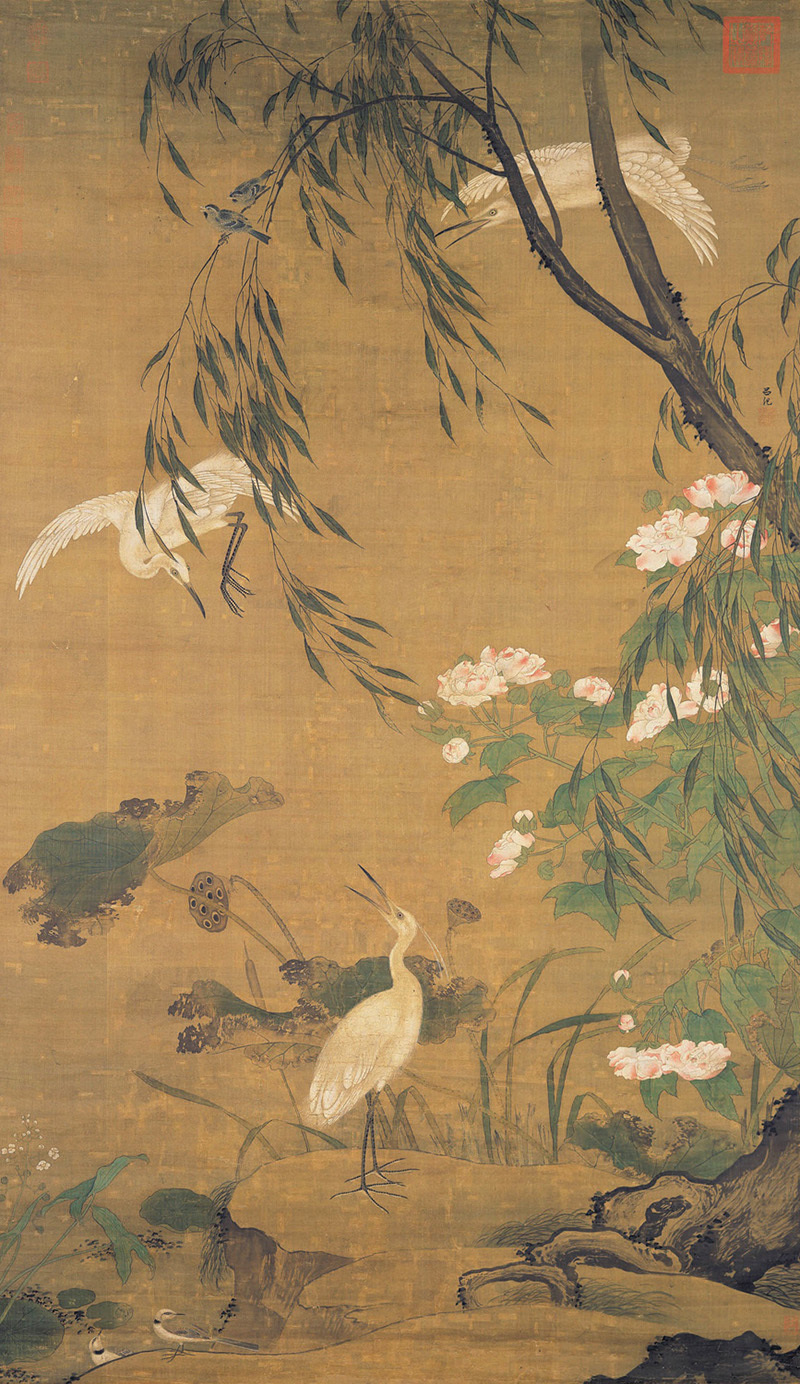 lv-ji_autumnal-egrets-and-hibiscus