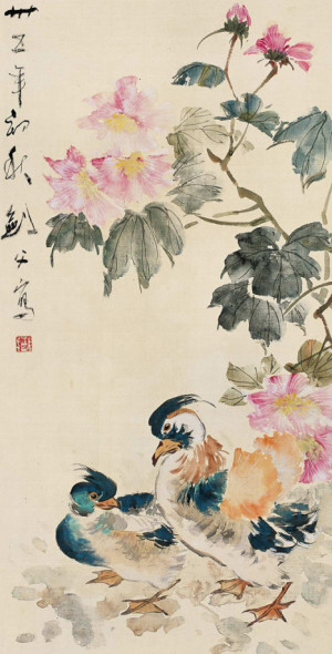 Cotton Roses and Mandarin Ducks