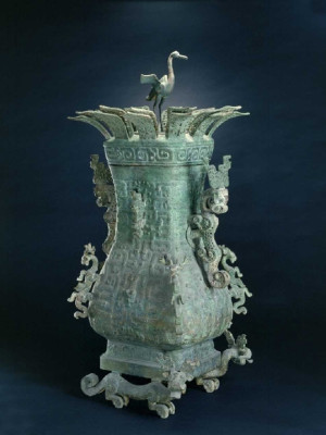 Wine Vessel Hu with Lotus and Crane