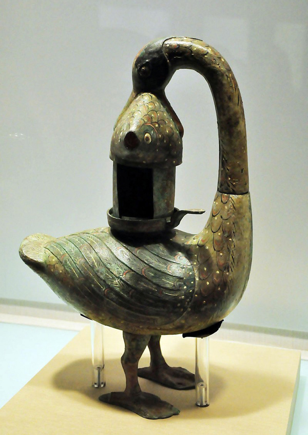 Lamp in the Shape of Goose Catching Fish