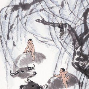 li-keran_bathing-oxen-under-a-willow-tree