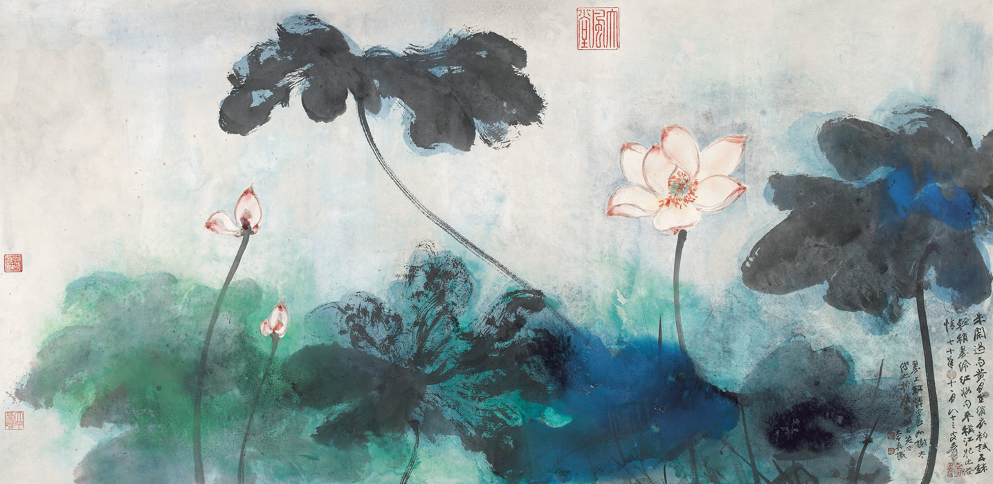 Zhang Daqian (1899-1983) - Red Lotuses