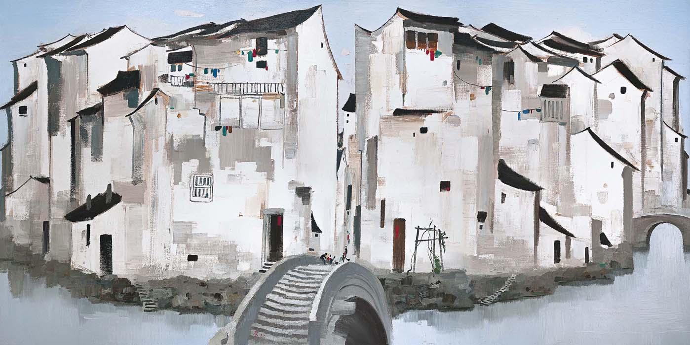 wu-guanzhong_zhou-village_oil