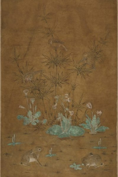 Bamboo, Sparrows, and Two Rabbits