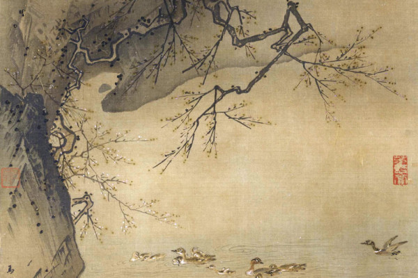 Plum Blossoms and Rocks by a Stream with Teals