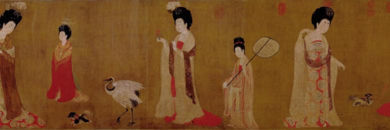Court Ladies Wearing Flowered Headdresses