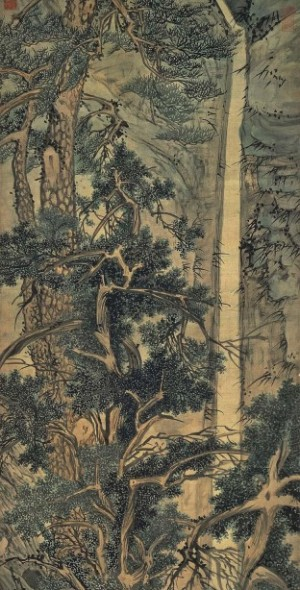Wen Zhengming: Old Trees by a Cold Waterfall