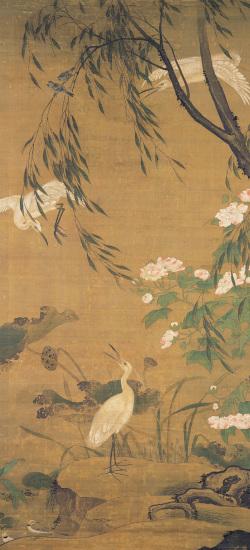 Autumnal Egrets and Hibiscus