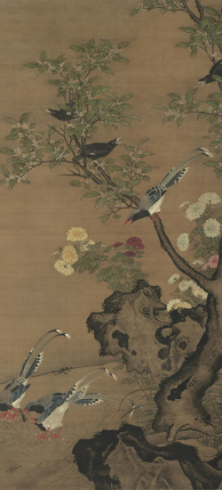 Sweet Osmanthus, Chrysanthemum, and Birds