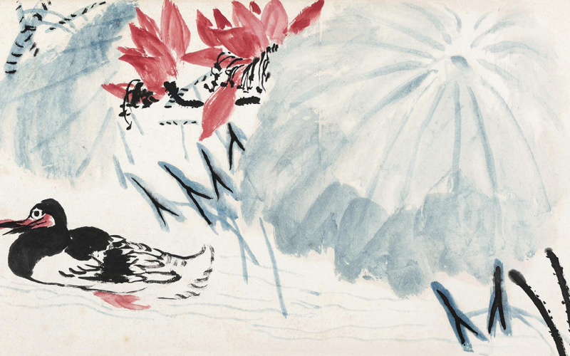 Lotus Flowers and Wild Duck