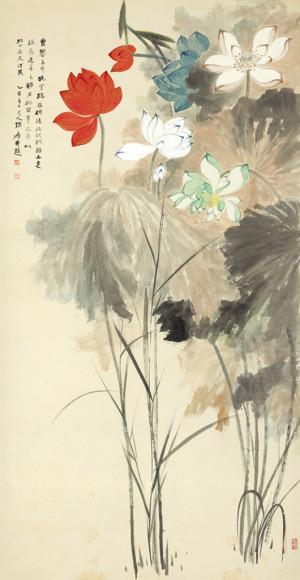 Zhang Daqian (1899-1983) - Lotuses in Five Colors