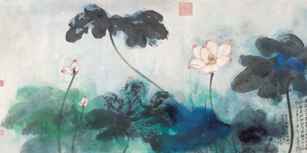 Zhang Daqian (1899-1983) - Red Lotuses