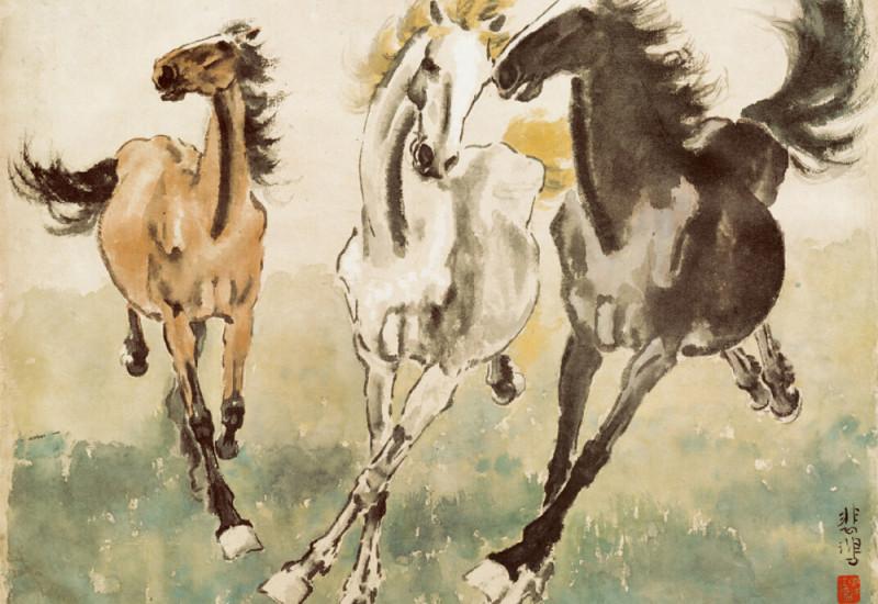 Three Galloping Horses