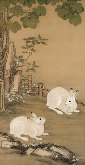 Twin Rabbits under a Plane Tree