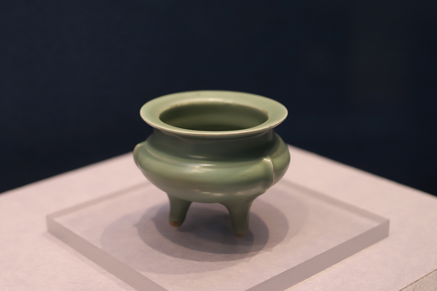 Longquan Ware, Tripod Incense Burner with Plum-green Glaze